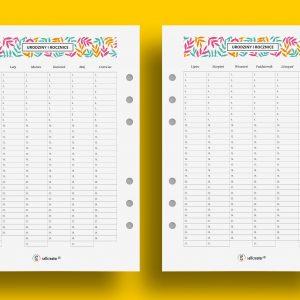 Urodziny i rocznice - planner do druku A5 Selfcreator