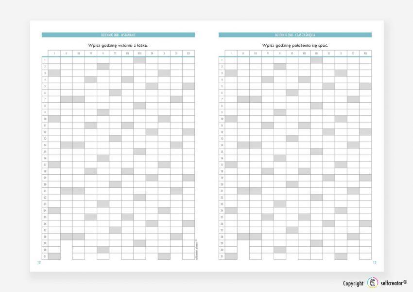 Kalendarz Selfcreator Planner 2021 - Dziennik snu