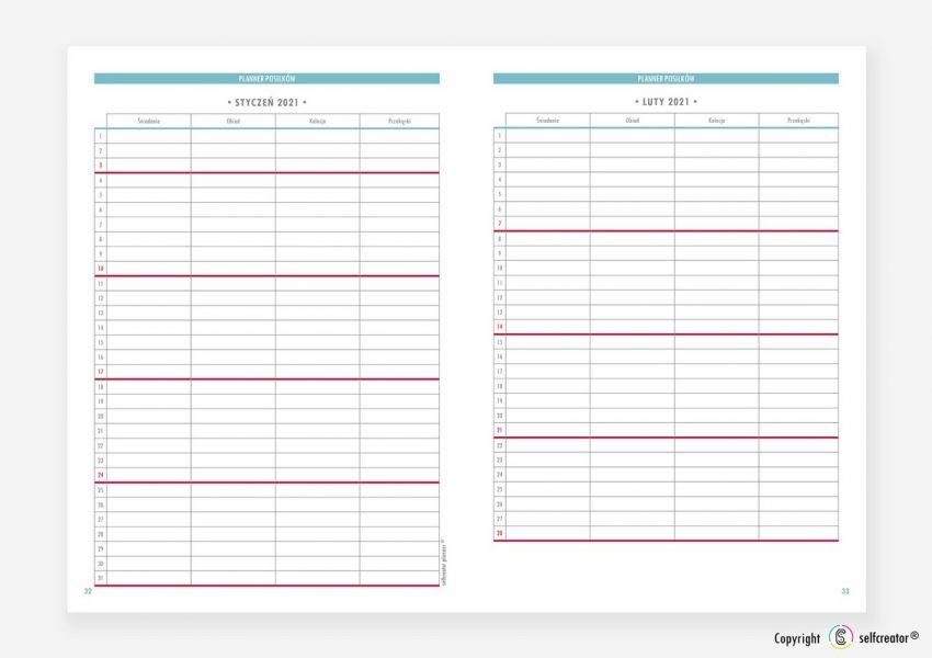 Kalendarz Selfcreator Planner 2021 - Plan posiłków