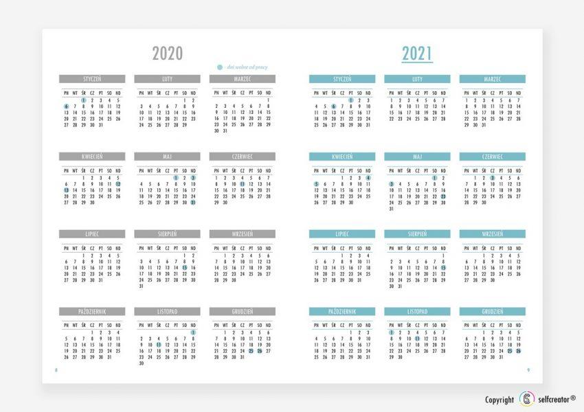 Kalendarz Selfcreator Planner 2021 - Podgląd całego roku
