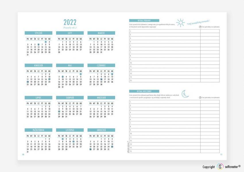 Kalendarz Selfcreator Planner 2021 - Rytuał poranny i wieczorny